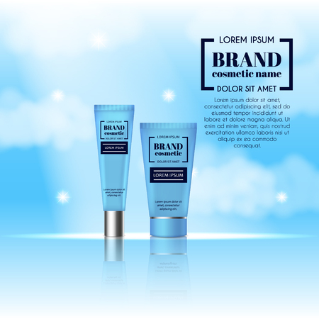 3D realistic cosmetic bottle ads template. Cosmetic brand advertising concept design on sky background with clouds.