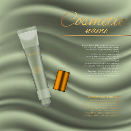 Vector 3D cosmetic illustration on a soft silk background. Beauty realistic cosmetic product design template