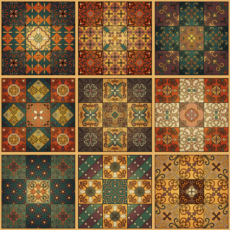 Seamless pattern with portuguese tiles in talavera style. Azulejo, moroccan, mexican ornaments Stock fotó - 95188097