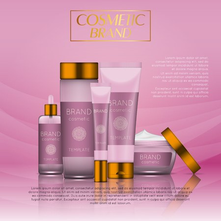 Vector 3D cosmetic illustration on a soft light waves background. Beauty realistic cosmetic product design template.