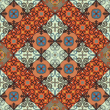 A Seamless pattern with oriental design tiles in talavera style.