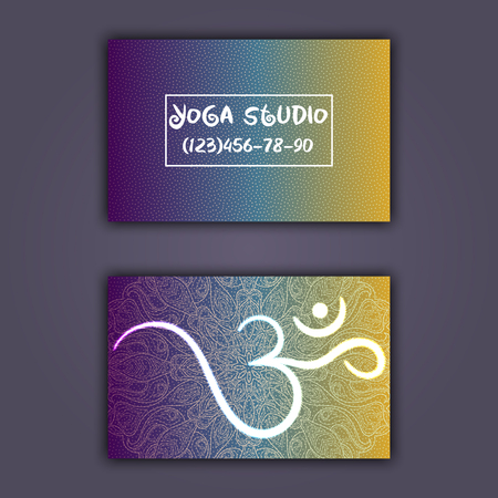 Business card for yoga studio or yoga instructor. Ethnic background with mandala ornament and ohm.