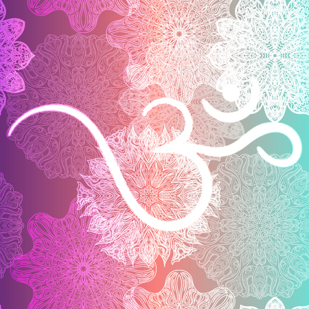 Ornate floral seamless texture, endless pattern with glowing bright mandala elements and ohm symbol.