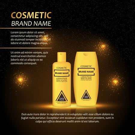 3D realistic cosmetic bottle ads template. Cosmetic brand advertising concept design with abstract glowing lights and sparkles background. Illustration