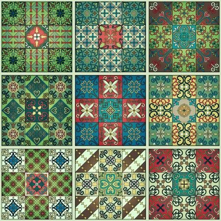Portuguese tiles in talavera style seamless pattern. Azulejo, Moroccan, Mexican ornaments.