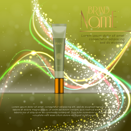 3D realistic cosmetic bottle ads template. Cosmetic brand advertising concept design with glitters and bokeh background.