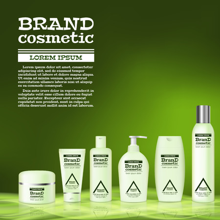 3D realistic cosmetic bottle ads template. Cosmetic brand advertising concept design with abstract glowing waves. Illustration