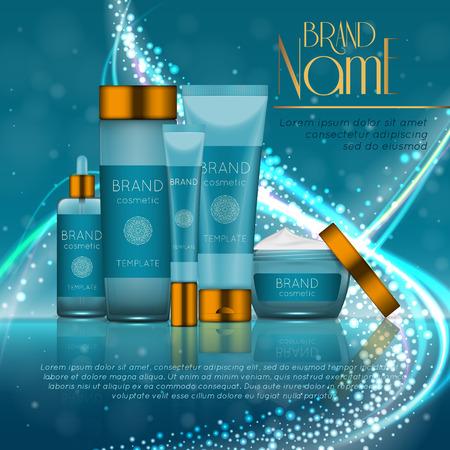 modèle de bouteilles cosmétiques cosmétiques réaliste 3d . concept de conception de la marque cosmétique avec des paillettes et bokeh . fond de bokeh