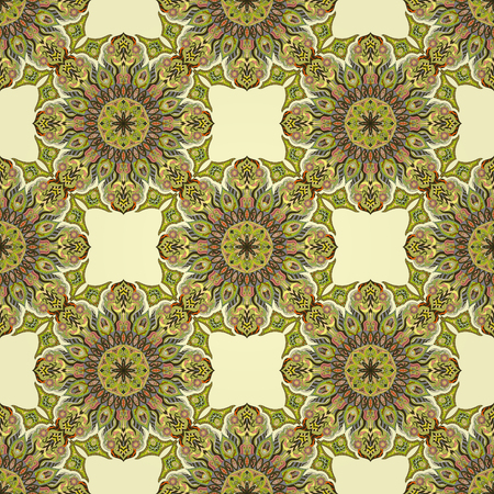 Ornate floral seamless texture, endless pattern with vintage mandala elements. Can be used for wallpaper, pattern fills, web page background, surface textures.Islam, Arabic, Indian, ottoman motifs. Stock Illustratie