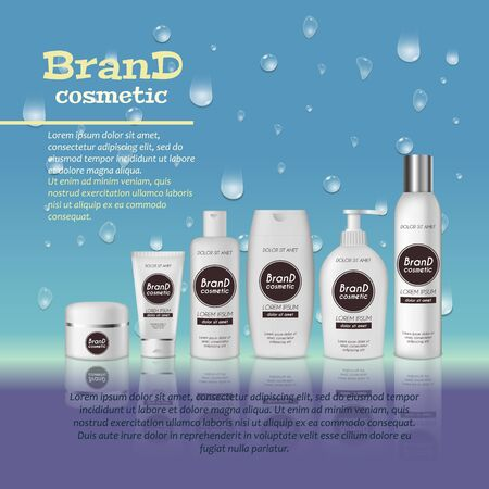 3D set cosmetic products container on white color on water droplets background.