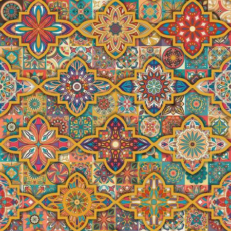 Modello senza cuciture con mandala decorative. Mandala vintage elementi. Patchwork colorato Archivio Fotografico - 96632326
