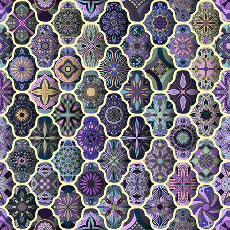 Seamless pattern with decorative mandalas. Vintage mandala elements. Colorful patchwork 向量圖像