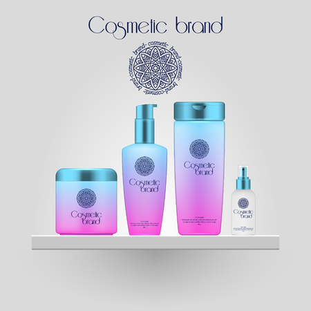 Set of realistic gradient color cosmetic bottle. 3D mockup bottle isolated on white background. Cosmetic products package 向量圖像