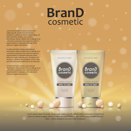 3D realistic cosmetic bottle ads template. Cosmetic brand advertising concept design on glowing background with pearls and sparkles.