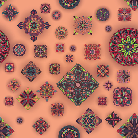 Seamless pattern with decorative mandalas. Vintage mandala elements