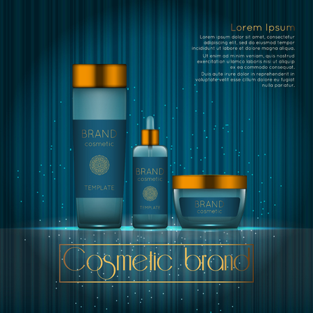 3D realistic cosmetic bottle ads template. Cosmetic brand advertising concept design with glowing sparkles on abstract texture background. Vettoriali