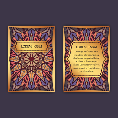 Vintage cards with floral mandala pattern and ornaments. Front page and back page. Luxury design