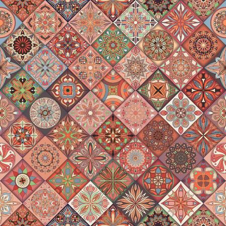 Seamless pattern with decorative mandalas. Vintage mandala elements. Colorful patchwork Vettoriali