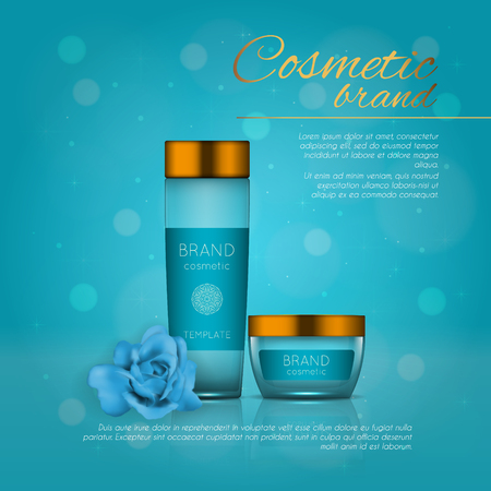Vector 3D cosmetic illustration with rose and bokeh background. Beauty realistic cosmetic product design template
