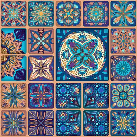 Modèle sans couture avec des mandalas décoratifs. Éléments de mandala vintage