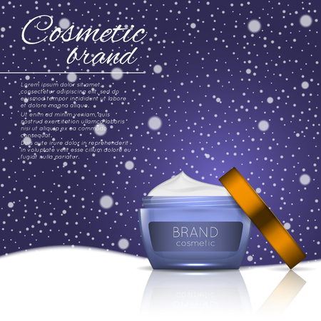 3D realistic cosmetic bottle ads template. Cosmetic brand advertising concept design on winter background with snowflakes. Illustration