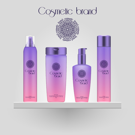 Set of realistic gradient color cosmetic bottle. 3D mockup bottle isolated on white background. Cosmetic products package  イラスト・ベクター素材
