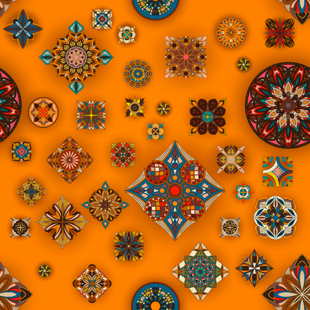 Ethnic floral mandala seamless pattern. Decorative colorful background Stok Fotoğraf - 104700522