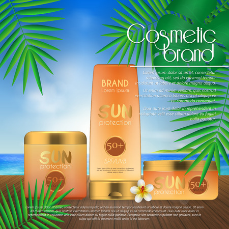 Summer sunblock cosmetic design template on beach background with exotic palm leaves. 3D realistic sun protection and sunscreen product ads Stok Fotoğraf - 104700541