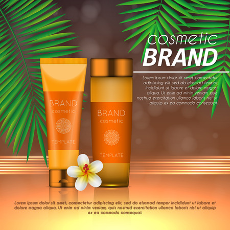 Summer sunblock cosmetic design template on abstract orange background with exotic palm leaves. Realistic sun protection and sunscreen product ads