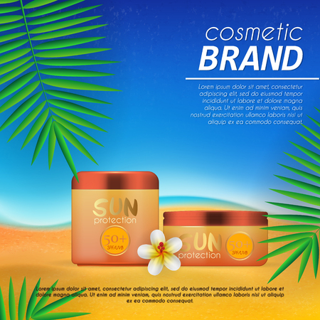 Summer sunblock cosmetic design template on beach background with exotic palm leaves. Realistic sun protection and sunscreen product ads