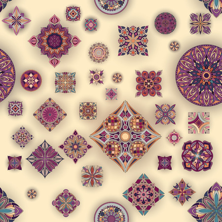 Ethnic floral mandala seamless pattern. Decorative colorful background Stok Fotoğraf - 104700546