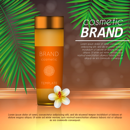Summer sunblock cosmetic design template on abstract orange background with exotic palm leaves. Realistic sun protection and sunscreen product ads Stok Fotoğraf - 104701263