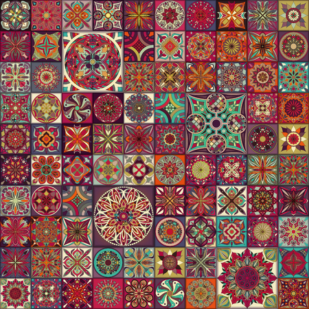 Ethnic floral mandala seamless pattern. Colorful mosaic background Stok Fotoğraf - 104701274