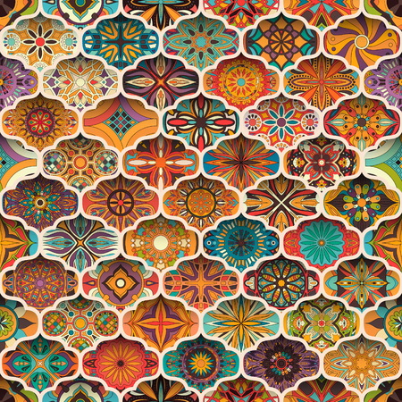 Ethnic floral mandala seamless pattern. Colorful mosaic background Stok Fotoğraf - 104701273
