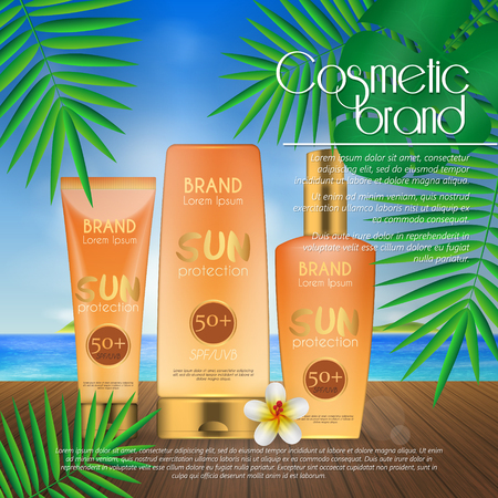 Summer sunblock cosmetic design template on beach background with exotic palm leaves. 3D realistic sun protection and sunscreen product ads Stok Fotoğraf - 104701277