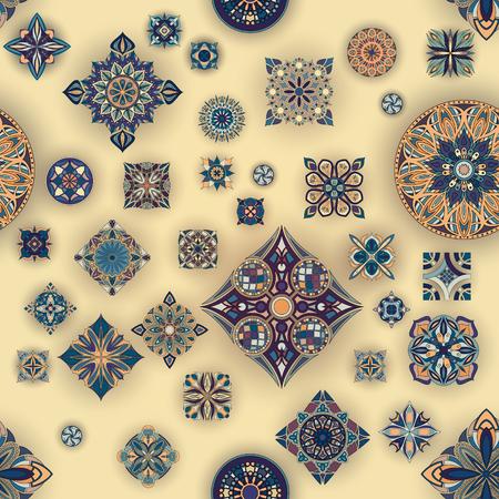 Ethnic floral mandala seamless pattern. Decorative colorful background