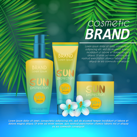 Summer sunblock cosmetic design template on abstract blue background with exotic palm leaves. Realistic sun protection and sunscreen product ads