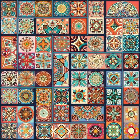 Ethnic floral mandala seamless pattern. Colorful mosaic background Stok Fotoğraf - 104700589