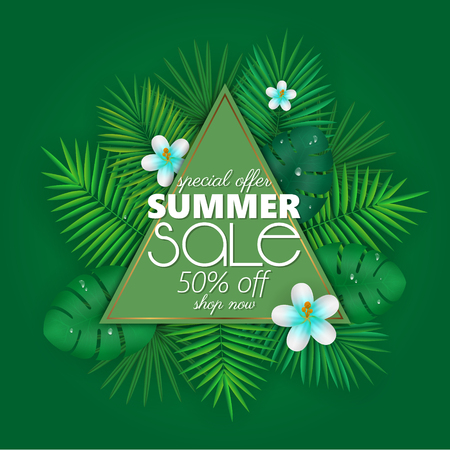 Summer sale banner, poster template with palm leaves and jungle leaf . Floral tropical summer background Stok Fotoğraf - 104700599
