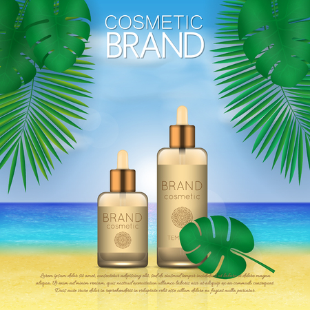 Summer sunblock cosmetic design template on beach background with exotic palm leaves. 3D realistic sun protection and sunscreen product ads 向量圖像