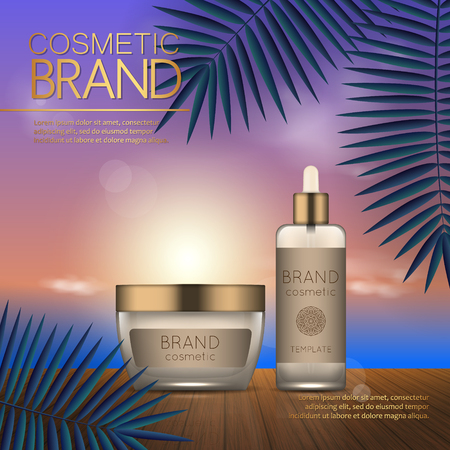 Summer cosmetic template on the sunset beach with exotic palm leaves background. Realistic 3D design Stok Fotoğraf - 104701300