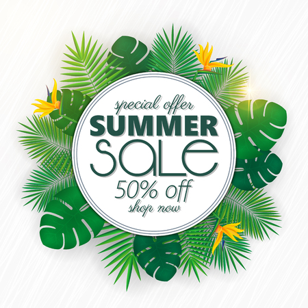 Summer sale banner, poster template with palm leaves and jungle leaf . Floral tropical summer background Stok Fotoğraf - 104700805