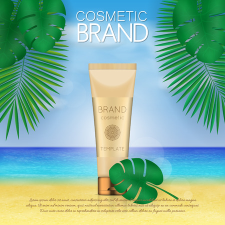 Summer sunblock cosmetic design template on beach background with exotic palm leaves. 3D realistic sun protection and sunscreen product ads Illustration