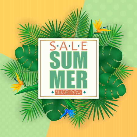 Summer sale banner, poster template with palm leaves and jungle leaf . Floral tropical summer background