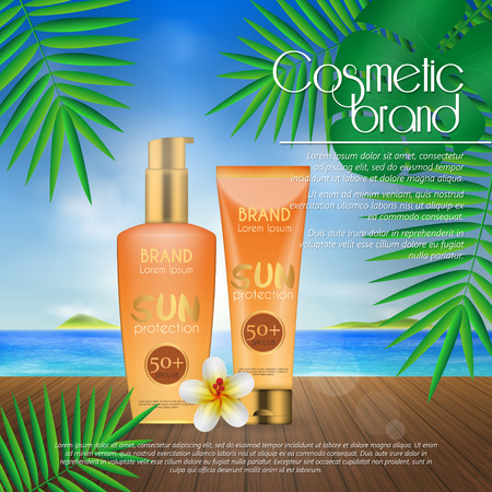 Summer sunblock cosmetic design template on beach background with exotic palm leaves. 3D realistic sun protection and sunscreen product ads  イラスト・ベクター素材