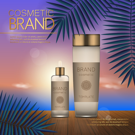 Summer cosmetic template on the sunset beach with exotic palm leaves background. Realistic 3D design