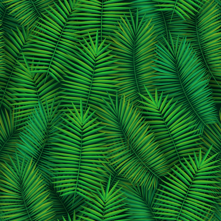 Summer seamless pattern with realistic tropical palm leaves design. Exotic jungle backdrop
