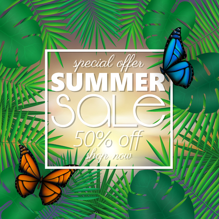 Summer sale banner, poster template with palm leaves and jungle leaf . Floral tropical summer background with colorful butterflies
