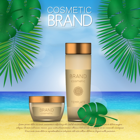Summer sunblock cosmetic design template on beach background with exotic palm leaves. 3D realistic sun protection and sunscreen product ads Çizim