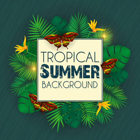 Floral tropical summer background with palm leaves, jungle leaf and colorful butterflies